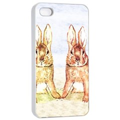 Rabbits  Apple iPhone 4/4s Seamless Case (White)