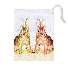 Rabbits  Drawstring Pouches (Extra Large)