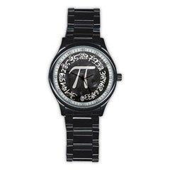 Pi Stainless Steel Round Watch