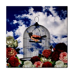Vintage bird in the cage  Tile Coasters