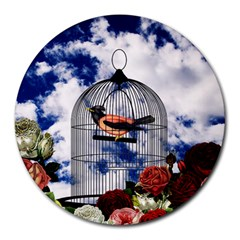 Vintage bird in the cage  Round Mousepads