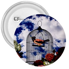 Vintage bird in the cage  3  Buttons