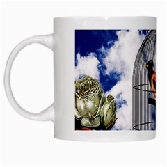 Vintage bird in the cage  White Mugs
