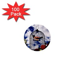 Vintage bird in the cage  1  Mini Buttons (100 pack)
