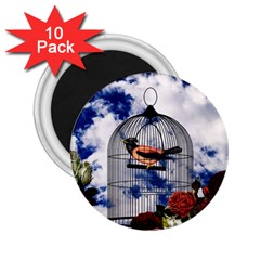 Vintage bird in the cage  2.25  Magnets (10 pack)