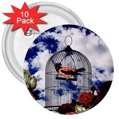 Vintage bird in the cage  3  Buttons (10 pack)