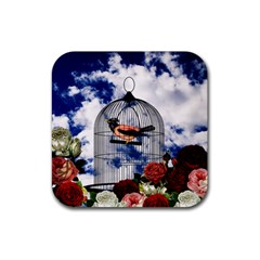 Vintage bird in the cage  Rubber Coaster (Square)