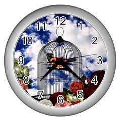 Vintage bird in the cage  Wall Clocks (Silver)
