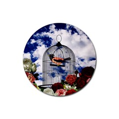 Vintage bird in the cage  Rubber Coaster (Round)