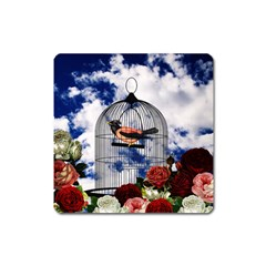 Vintage bird in the cage  Square Magnet