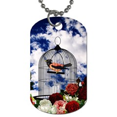 Vintage bird in the cage  Dog Tag (One Side)