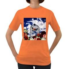 Vintage bird in the cage  Women s Dark T-Shirt