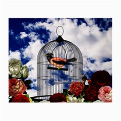 Vintage bird in the cage  Small Glasses Cloth