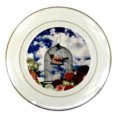 Vintage bird in the cage  Porcelain Plates
