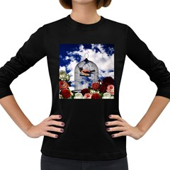 Vintage bird in the cage  Women s Long Sleeve Dark T-Shirts