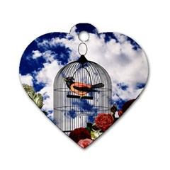 Vintage bird in the cage  Dog Tag Heart (Two Sides)