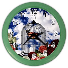 Vintage bird in the cage  Color Wall Clocks