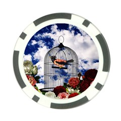 Vintage bird in the cage  Poker Chip Card Guard