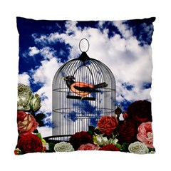 Vintage bird in the cage  Standard Cushion Case (Two Sides)