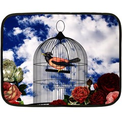 Vintage bird in the cage  Double Sided Fleece Blanket (Mini)
