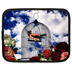 Vintage bird in the cage  Netbook Case (XXL)