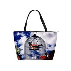 Vintage bird in the cage  Shoulder Handbags