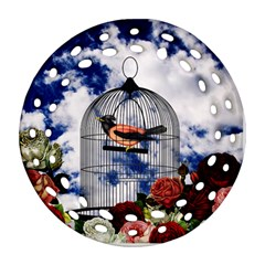 Vintage bird in the cage  Round Filigree Ornament (Two Sides)