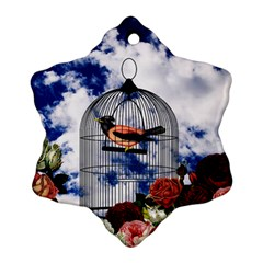 Vintage bird in the cage  Snowflake Ornament (Two Sides)