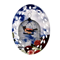 Vintage bird in the cage  Ornament (Oval Filigree)
