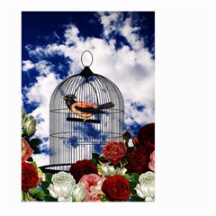 Vintage bird in the cage  Large Garden Flag (Two Sides)