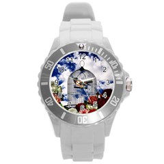 Vintage bird in the cage  Round Plastic Sport Watch (L)