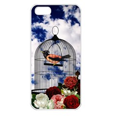 Vintage bird in the cage  Apple iPhone 5 Seamless Case (White)