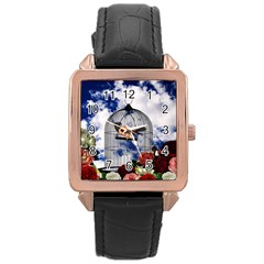 Vintage bird in the cage  Rose Gold Leather Watch