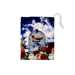 Vintage bird in the cage  Drawstring Pouches (Small)
