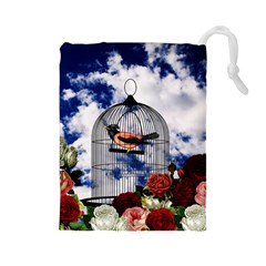 Vintage bird in the cage  Drawstring Pouches (Large)