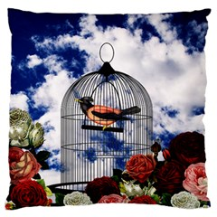 Vintage bird in the cage  Standard Flano Cushion Case (Two Sides)