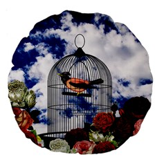 Vintage bird in the cage  Large 18  Premium Flano Round Cushions