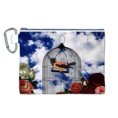 Vintage bird in the cage  Canvas Cosmetic Bag (L)