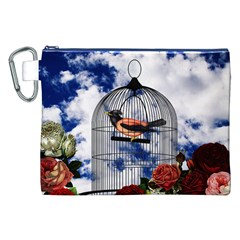Vintage bird in the cage  Canvas Cosmetic Bag (XXL)