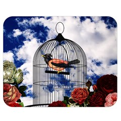Vintage bird in the cage  Double Sided Flano Blanket (Medium)