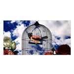 Vintage bird in the cage  Satin Shawl Front