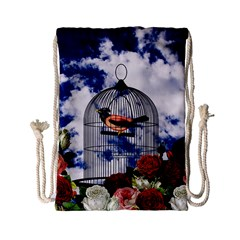 Vintage bird in the cage  Drawstring Bag (Small)