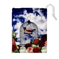 Vintage bird in the cage  Drawstring Pouches (Extra Large)