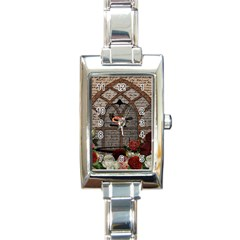 Vintage bird in the cage Rectangle Italian Charm Watch