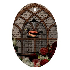 Vintage bird in the cage Ornament (Oval)