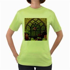 Vintage bird in the cage Women s Green T-Shirt