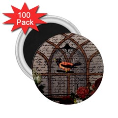 Vintage bird in the cage 2.25  Magnets (100 pack)