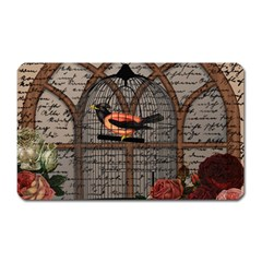 Vintage bird in the cage Magnet (Rectangular)