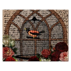 Vintage bird in the cage Rectangular Jigsaw Puzzl