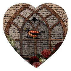 Vintage bird in the cage Jigsaw Puzzle (Heart)